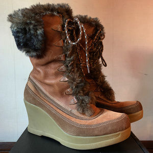 Report Wedge Boots leather, corduroy, faux fur